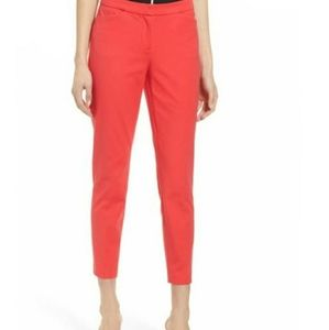 Halogen Ankle Pants Red Hibiscus Slim Fit 4 NEW
